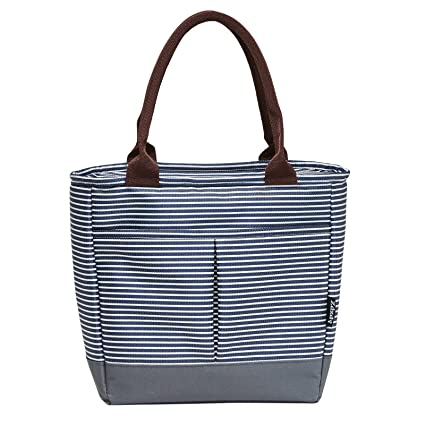 TianQin WY Reusable Lunch Tote Bag for Women Oxford Cloth Waterproof Insulated L