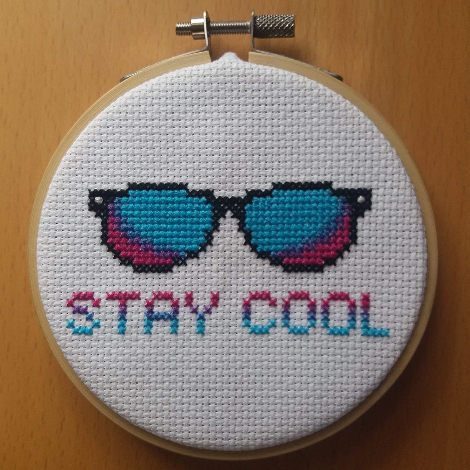 Sunglasses Cross Stitch Kit With Hoop - Beginners Counted Cross Stitch - 'Stay Cool' Summer Cross Stitch