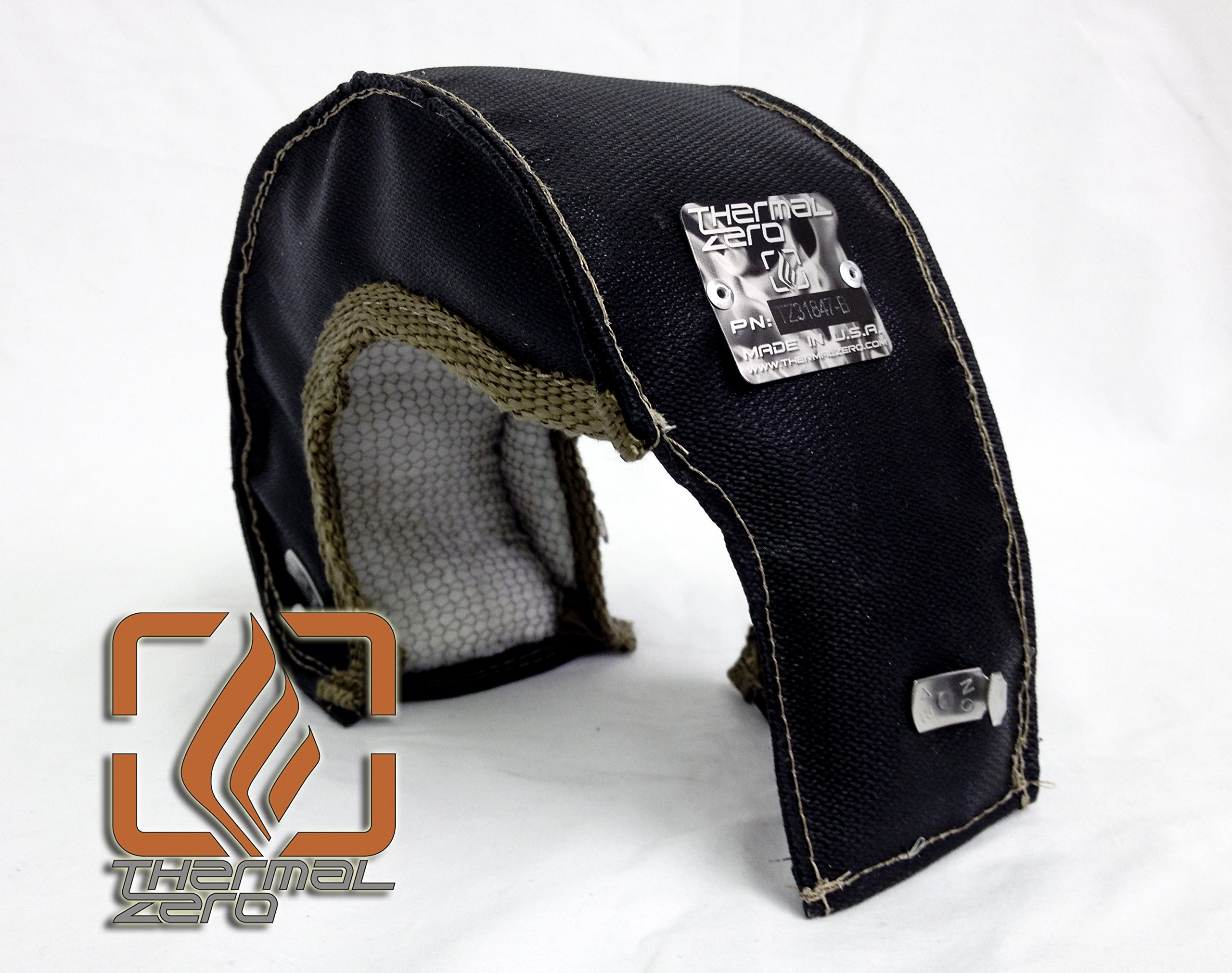Black T25 T28 T3 Turbo Blanket Holds 2400 degrees. MADE IN USA unlike the rest. Fits most small frame INTERNAL WASTEGATE housings including Garrett, Precision, Turbonetics etc. - TZ31847-B
