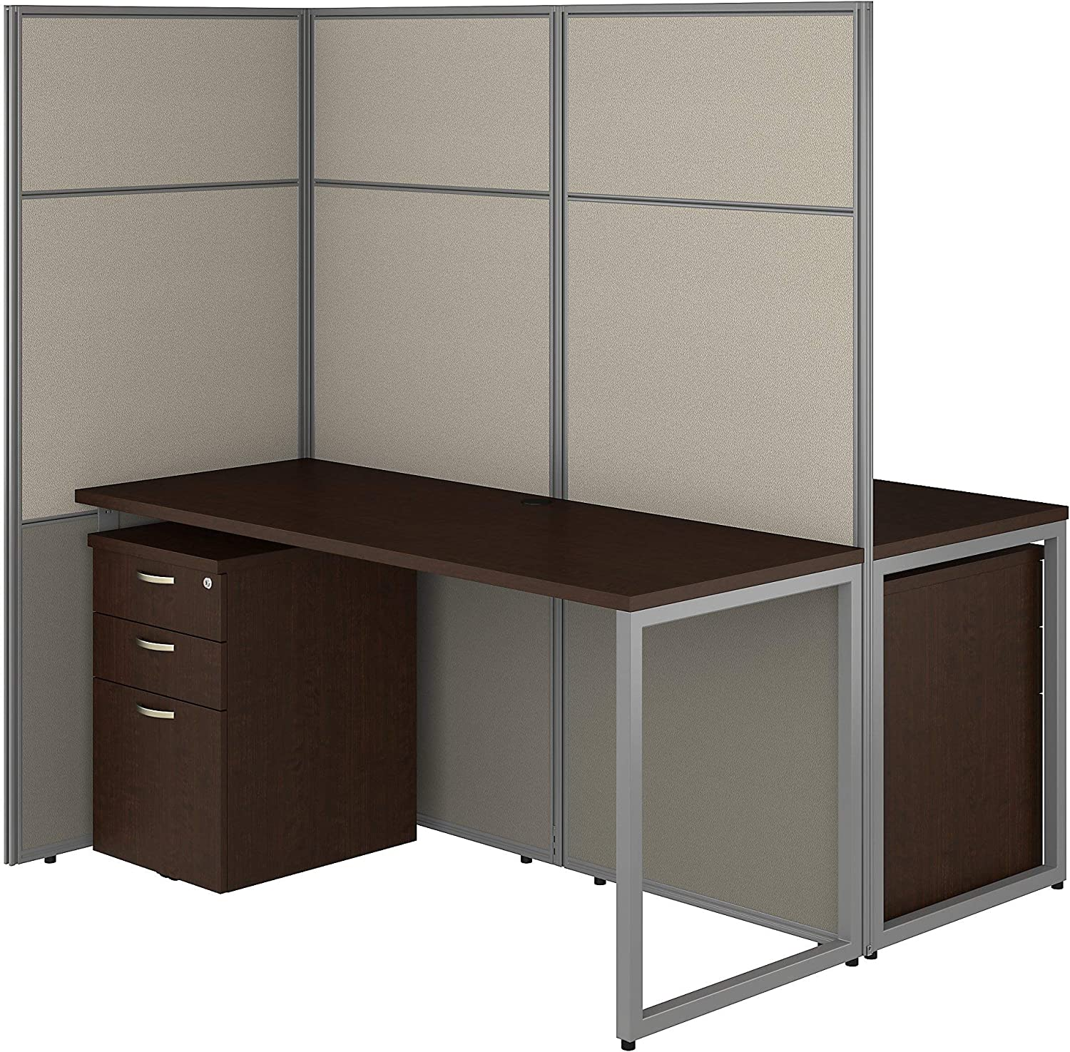 Bush Business Furniture Easy Office 2 Person Cubicle Desk with File Cabinets and 66H Panels, 60Wx60H, Mocha Cherry
