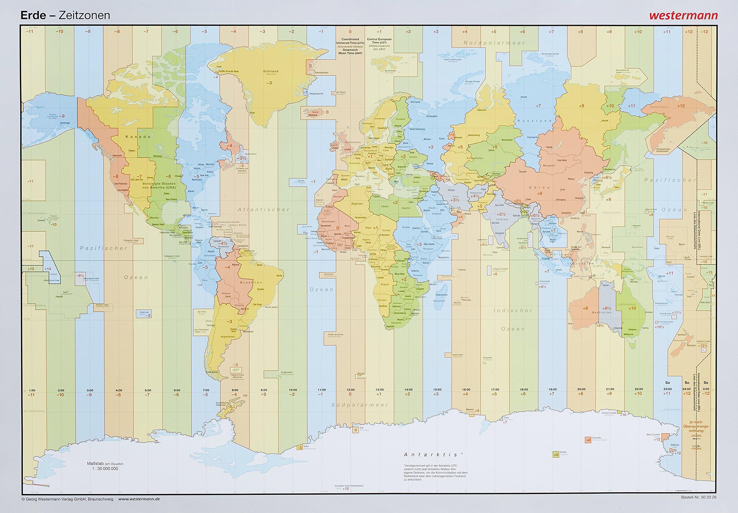 Posterkarten Geographie: Erde: Zeitzonen Poster – 1. September 2015 Westermann Lernspielverlage 3075020265 Baden-Württemberg Bayern