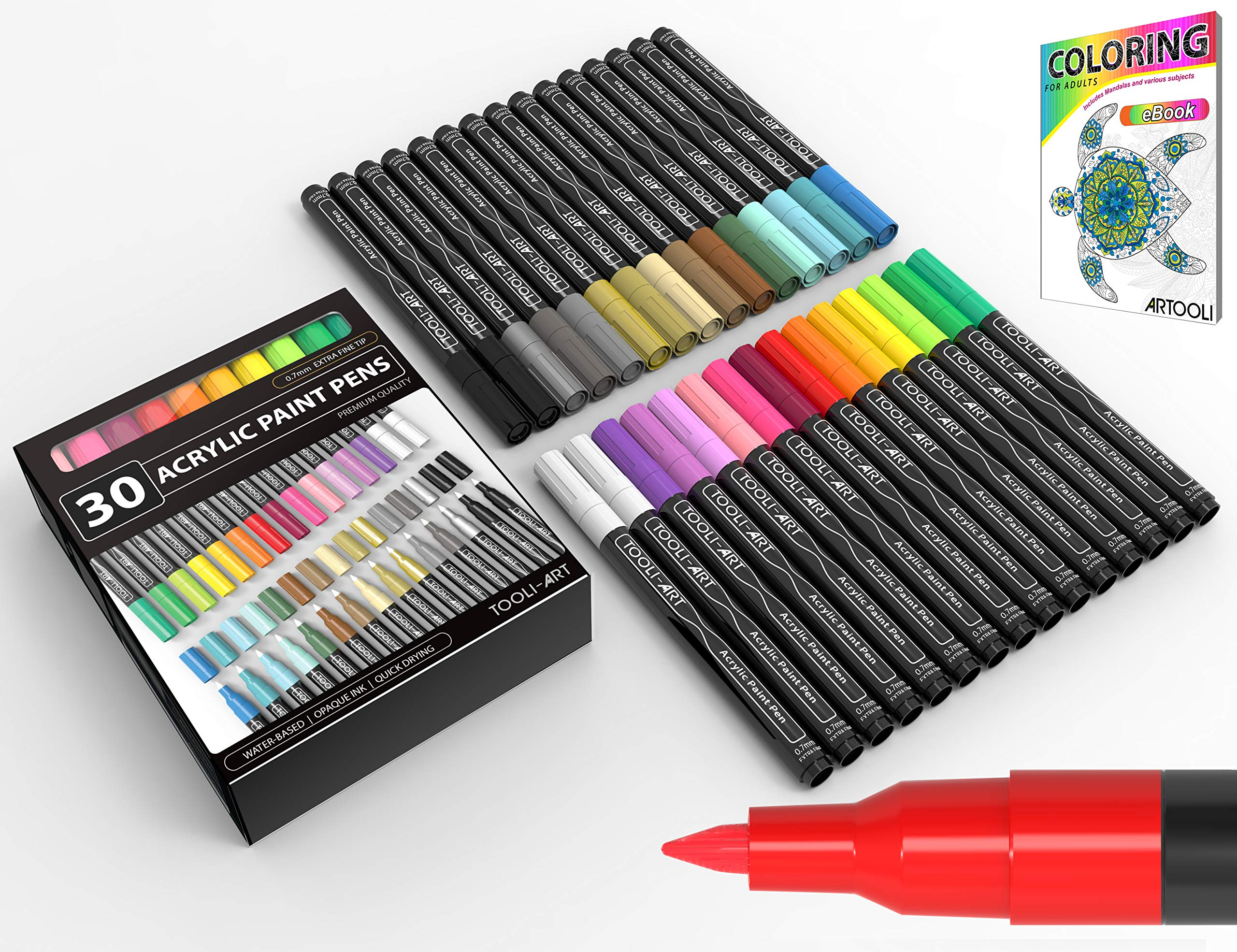 Acrylic Paint Pens 30 Assorted Markers Set 0.7mm Extra Fine Tip for Rock, Glass, Mugs, Porcelain, Wood, Metal, Fabric, Canvas, DIY Projects, Detailing. Non Toxic, Waterbased, Quick Drying. by TOOLI-ART