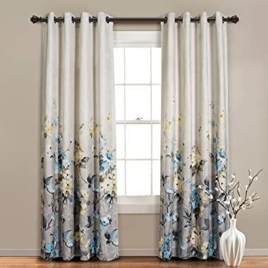 MYSKY HOME Floral Design Print Grommet top Thermal Insulated Faux Linen Room Darkening Curtains, 52 x 95 Inch, Blue, 1 Panel