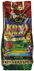 Hawaiian Gold Kona Coffee, Gourmet Blend Ground Coffee