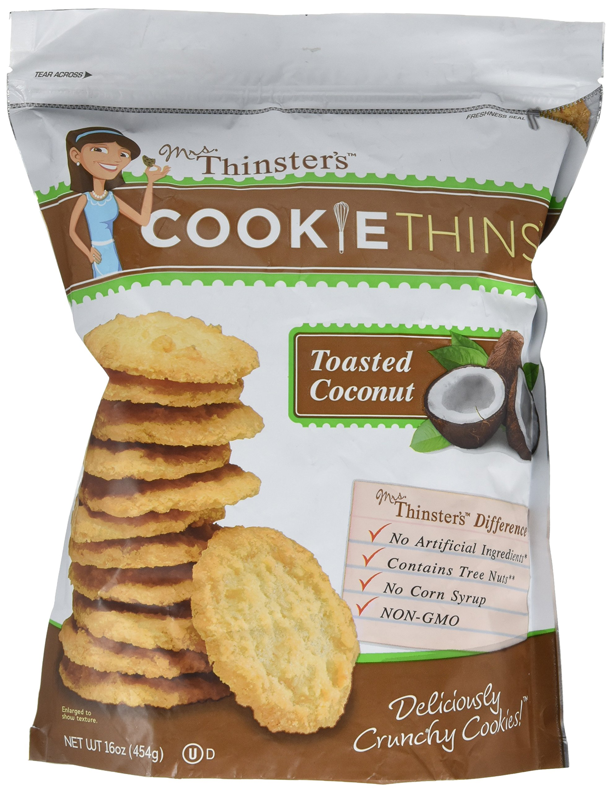 Mrs Thinsters TOASTED COCONUT Cookie Thins 16 Oz