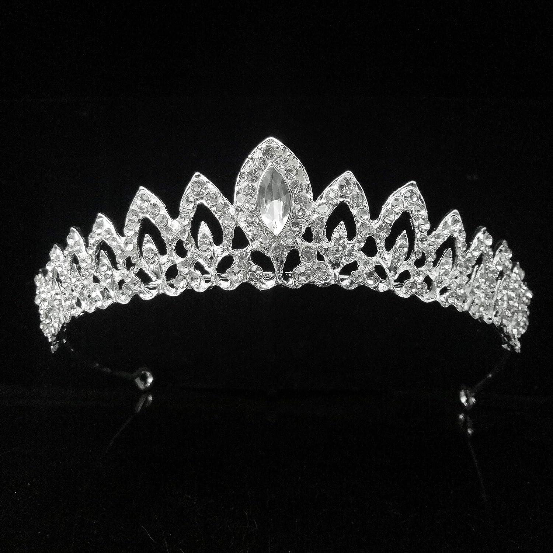 Rhinestone Crystal Tiaras and Crowns Headband For Women Birthday Pageant Wedding Prom Princess Crown,Silver