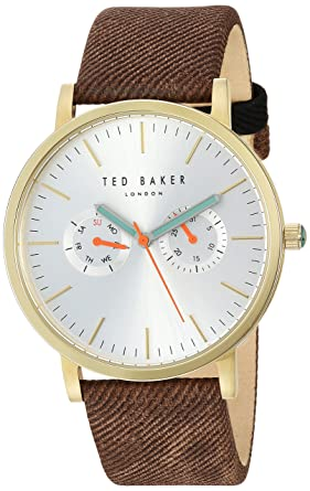 3a385b69dce747 Ted Baker Men s BRIT Stainless Steel Japanese-Quartz Watch with Canvas Strap