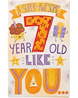 American Greetings Super Awesome 7th Birthday Card With Glitter