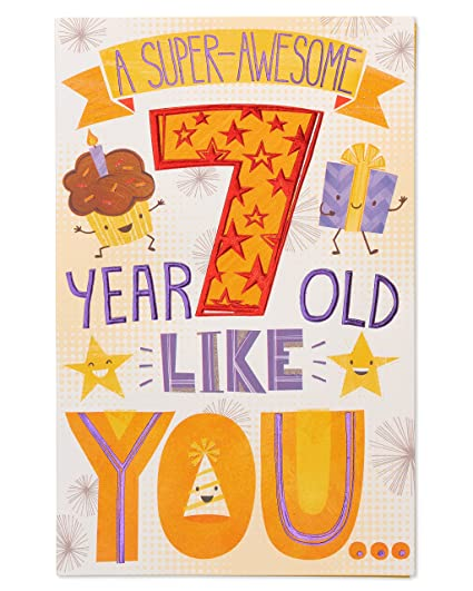 Amazon American Greetings Super Awesome 7th Birthday Card With