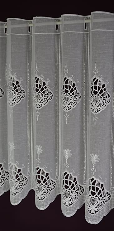 Visillo a medida Macramee – Cortina de láminas de ganchillo de aspecto rústico de punta de barra de tracción altura 60 cm – Ancho de la cortina por unidades Número en 15