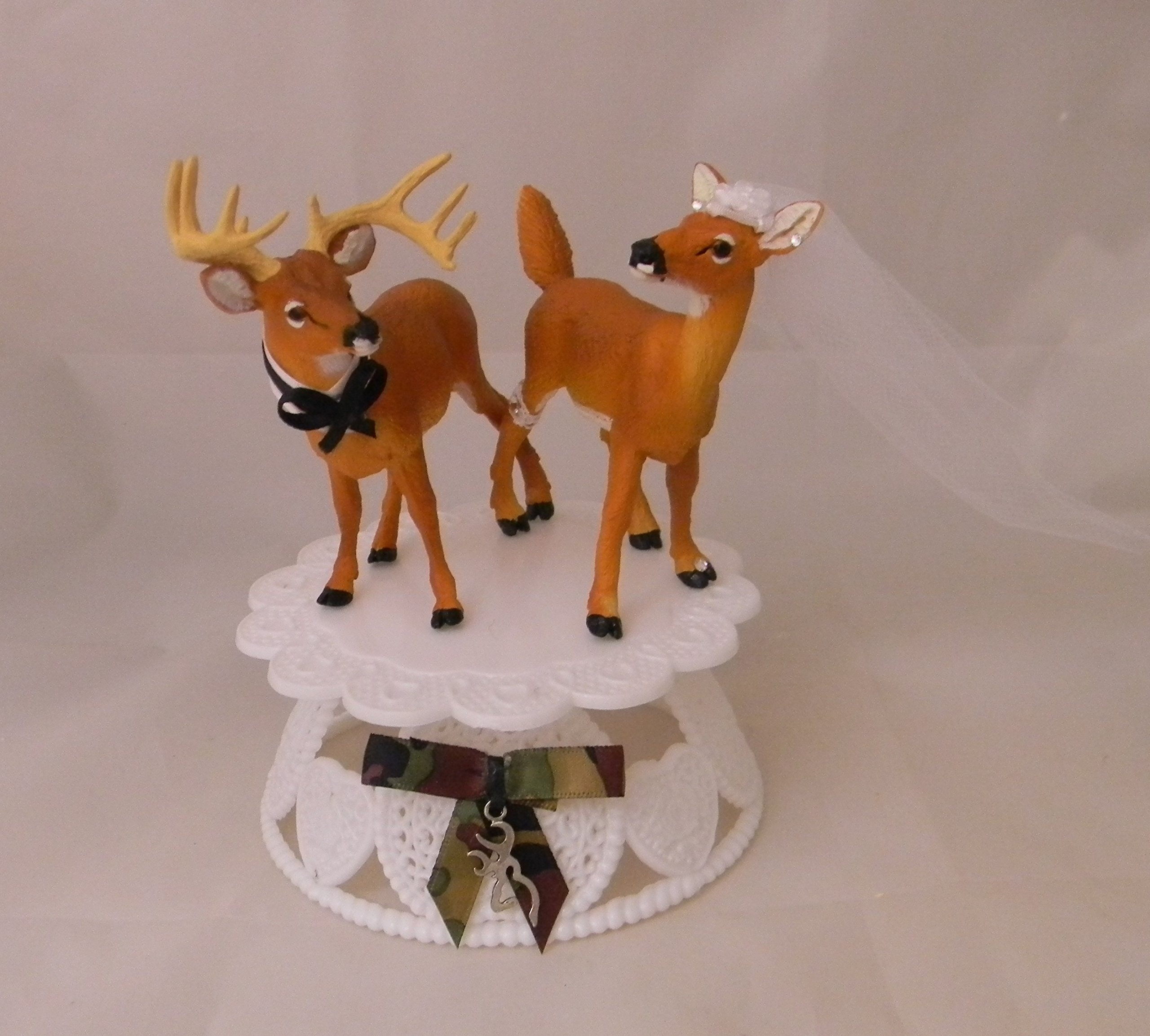 Wedding Reception Party Buck Doe Deer Hunter Cake Topper by Custom Design Wedding by Suzanne