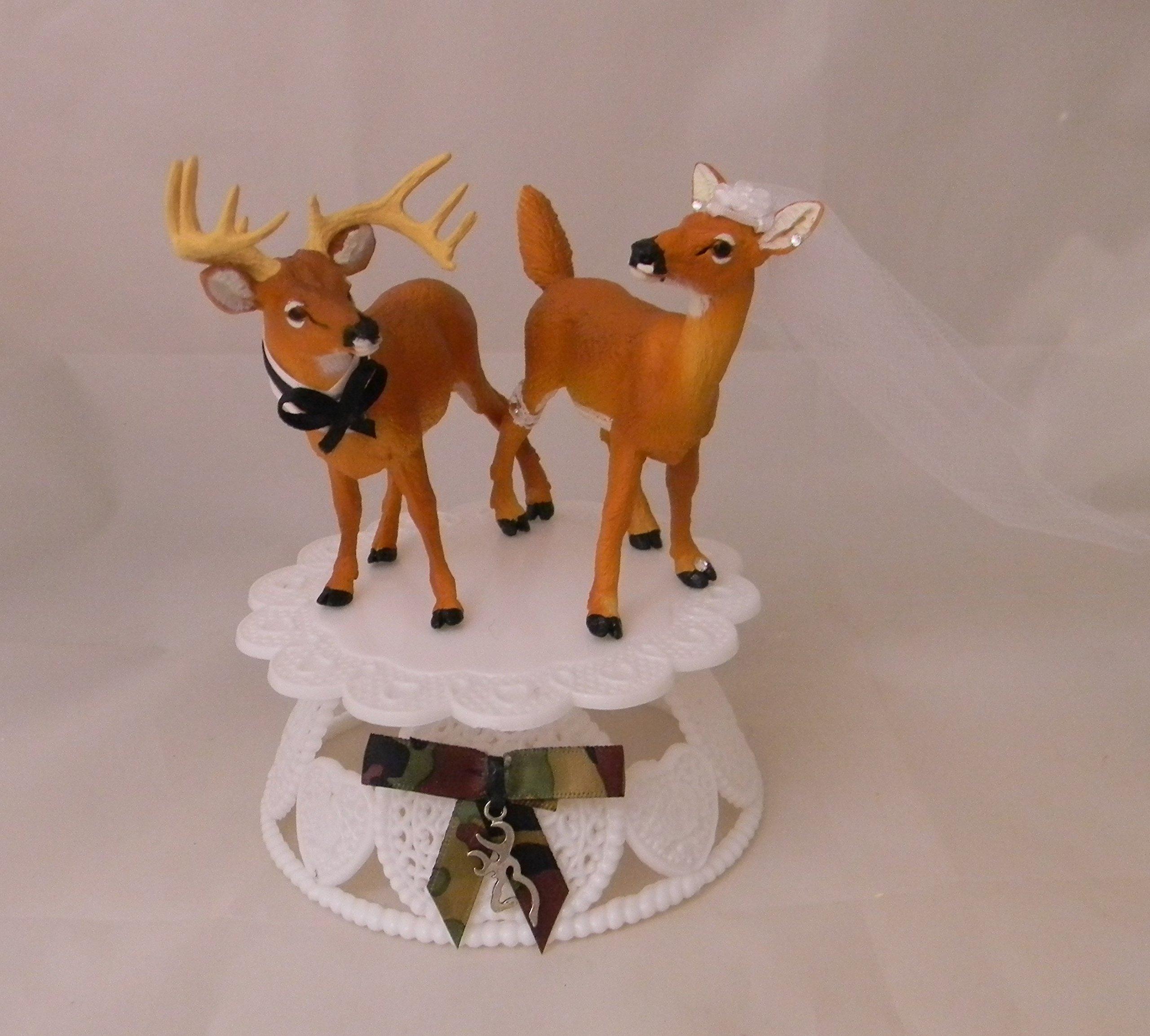 Wedding Reception Party Buck Doe Deer Hunter Cake Topper