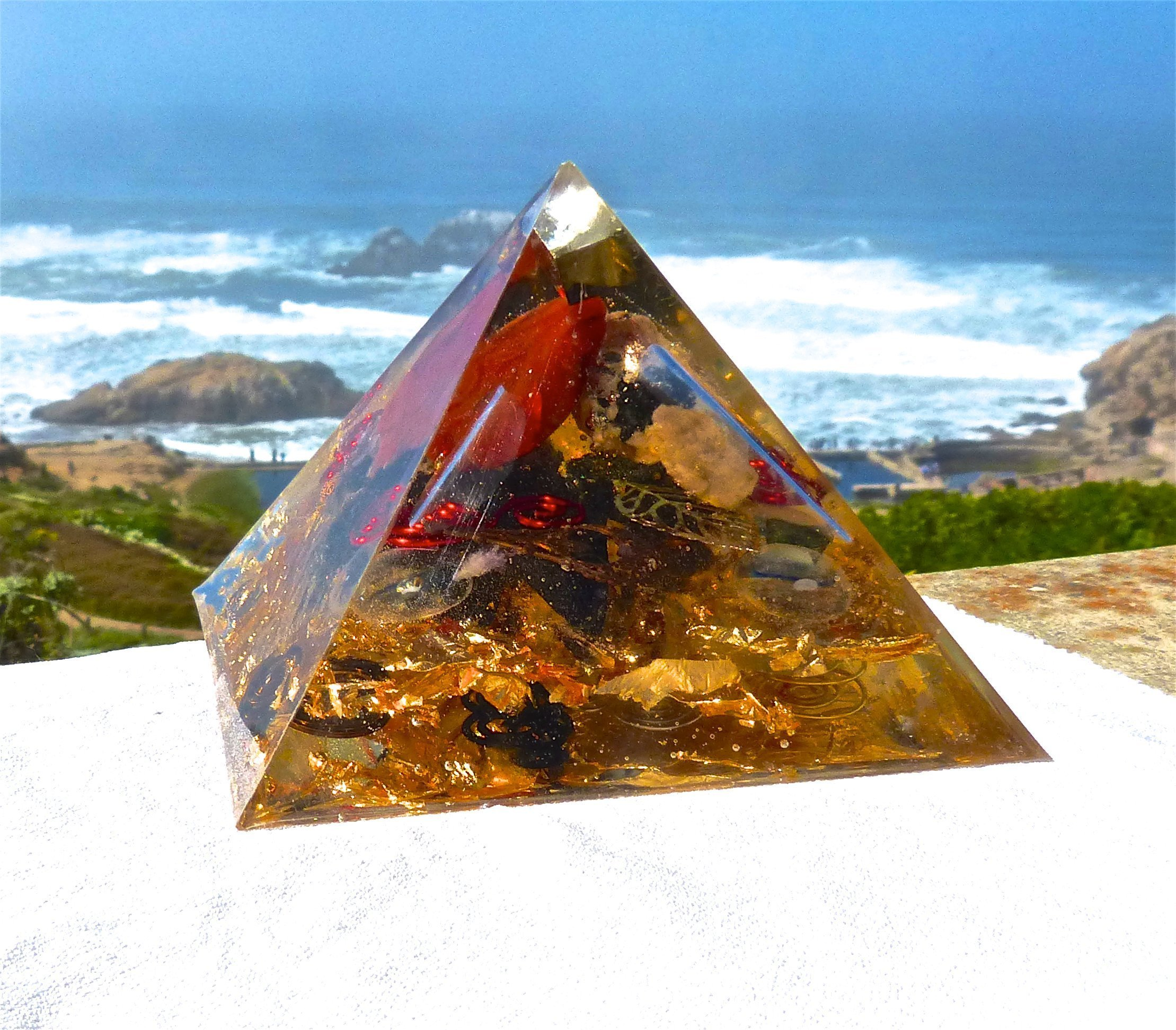 Computer Companion with Black Tourmaline, Jasper and Pegmatite Positive Energy Orgone Pyramid with Healing Frequency Crystals. Meditation Orgonite. by Energy Gem Store