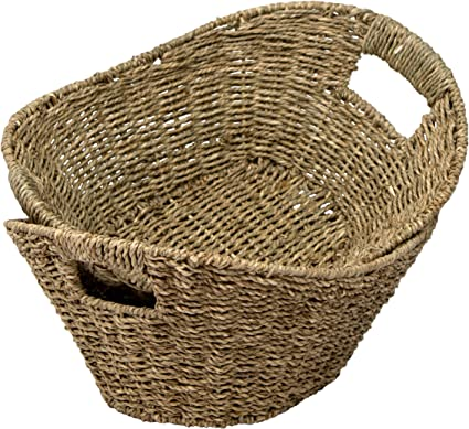 7WUNDERBAR Seagrass Basket Maceta Cesta de Flores de Paja Cesta de lavander/ía Cesta de Almacenamiento Plegable Grande con asa para la habitaci/ón de los ni/ños Ba/ño B