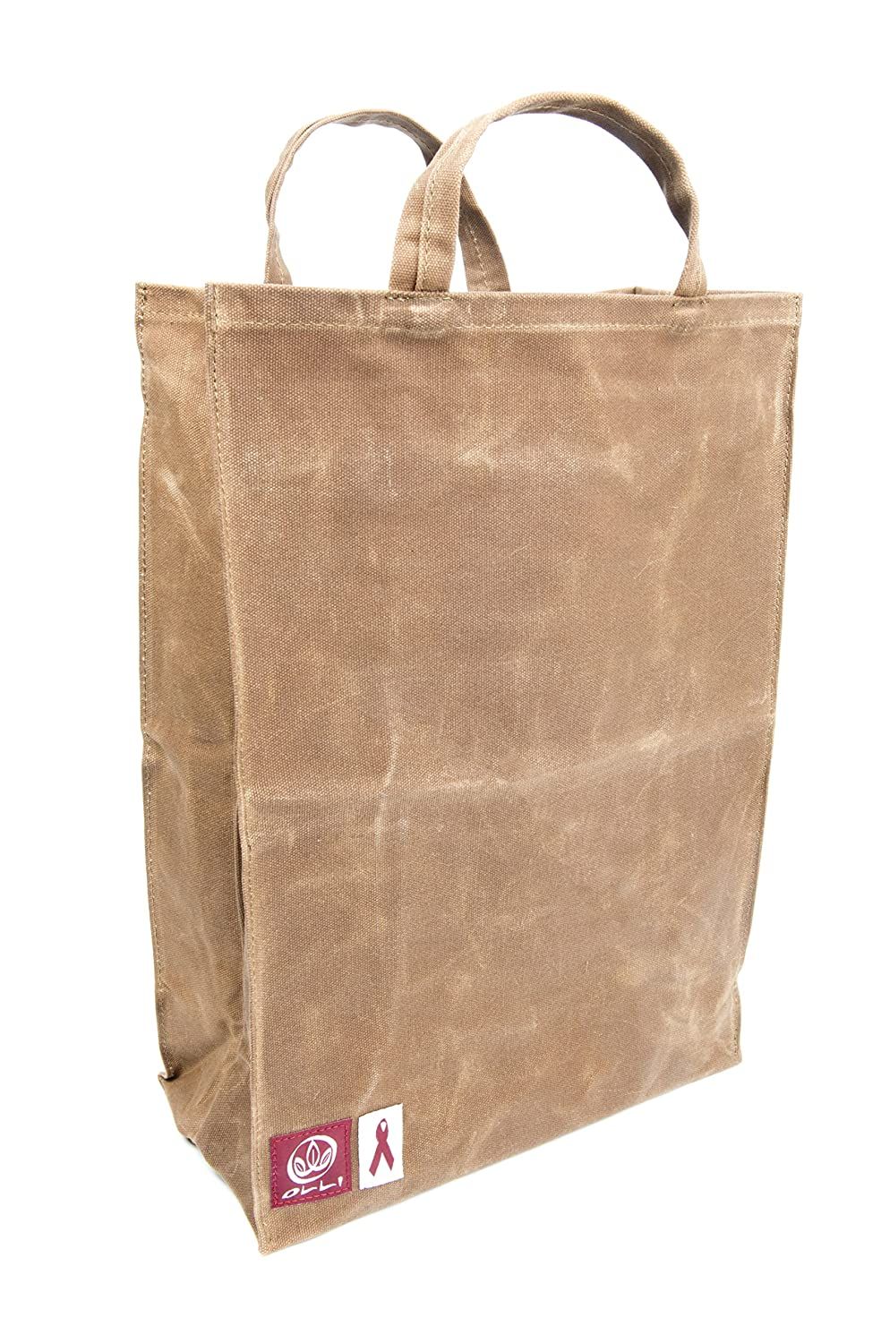 8831ae1c7901 Olli Reusable Waxed Cotton Canvas Grocery Tote Bags - Organic and Vegan  Shopping Bags Brown
