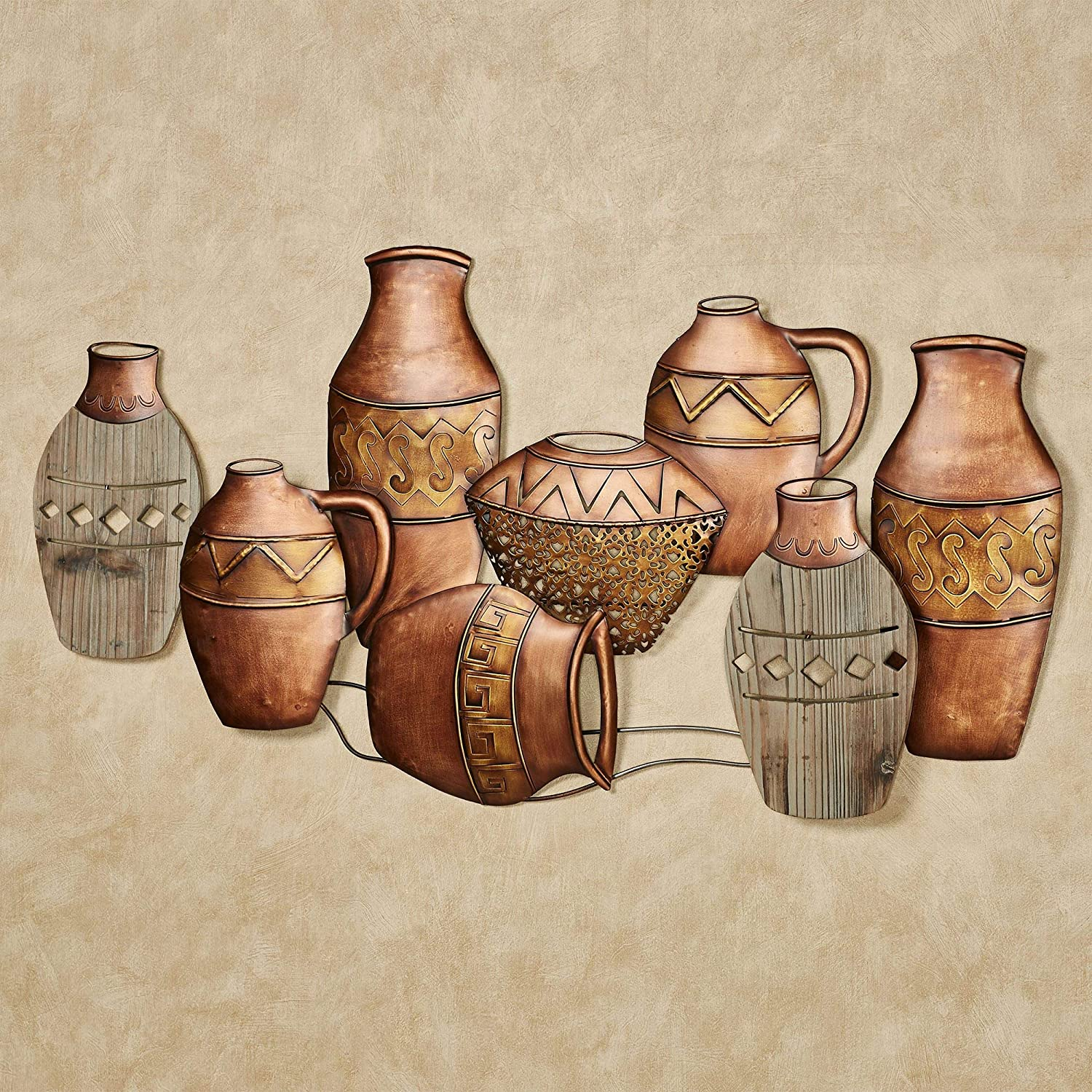 """Ancient Pottery Southwest Wall Art Copper - 40"""" W x 2"""" D x 21"""" H - Hand-painted - Vases, Vessels and Pots"""