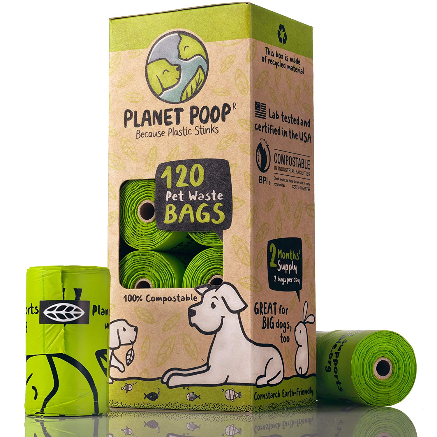 120 Count PLANET POOP Compostable Biodegradable Dog Poop Bags Unscented Cornstarch Earth Friendly Highest Rated ASTM D6400 Large with Handles, Durable Leak Proof Pet Waste Bags Supports Dog Rescue
