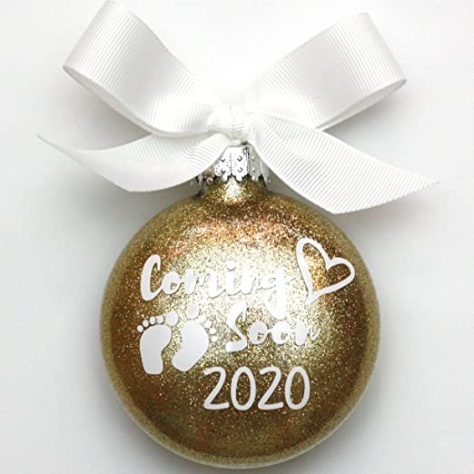 Glass And Silver Orniment Featured In 2020 White House Christmas Amazon.com: WMC Coming Soon! 2020 Birth Announcement Glass Glitter