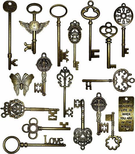 Amazon.com: KINGREE Vintage Skeleton Keys Charm Set in Antique ...