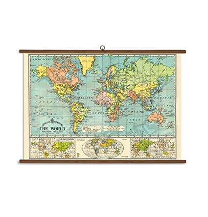 Vintage Looking World Map.Amazon Com Cavallini Papers World Map Vintage School Chart Posters