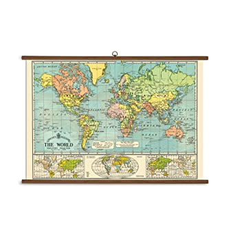Amazon cavallini papers world map vintage school chart cavallini papers world map vintage school chart gumiabroncs Gallery