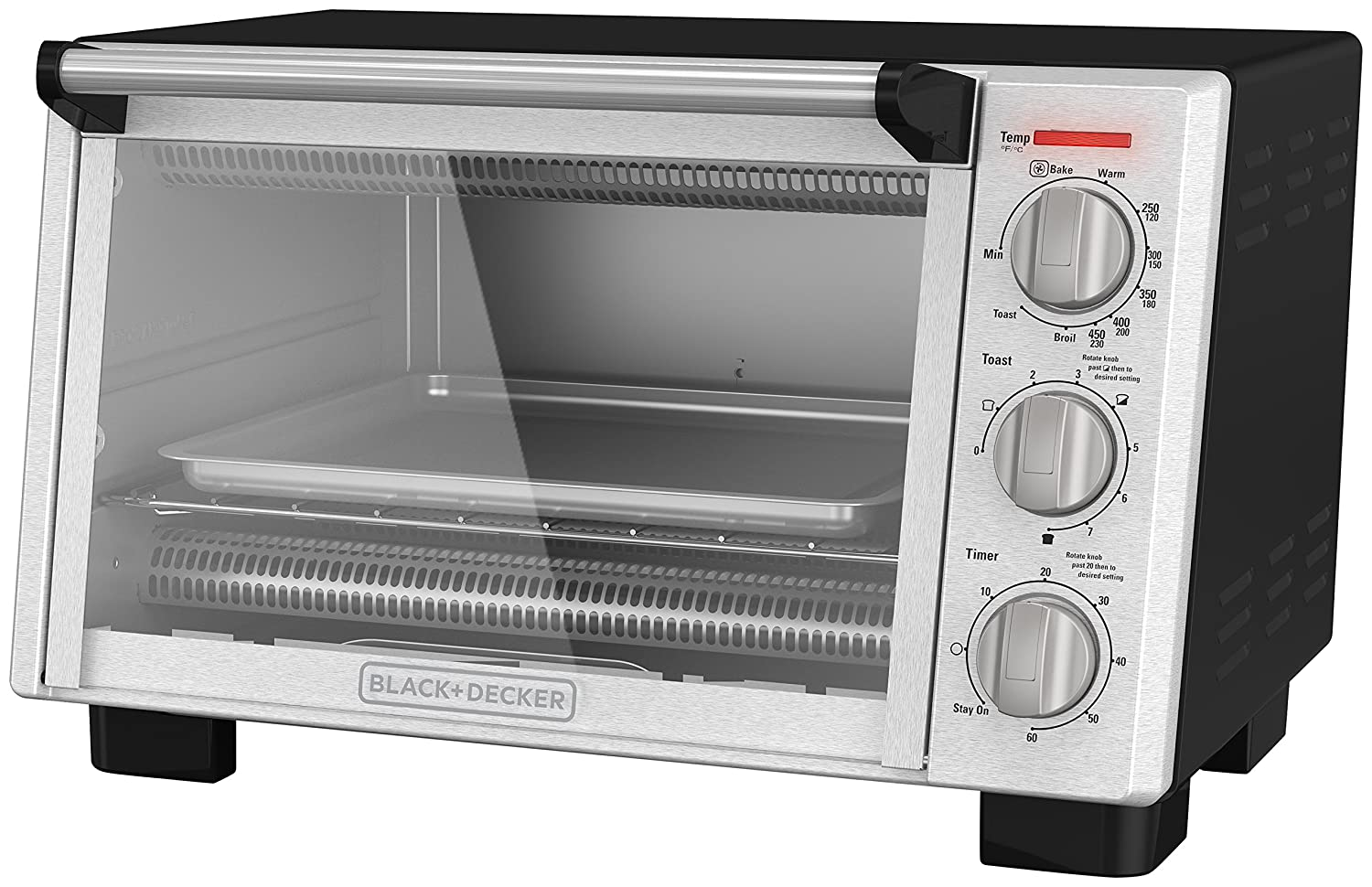 BLACK+DECKER 6-Slice Convection Countertop Toaster Oven, Stainless Steel/Black, TO2055S