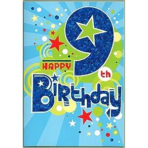 Childrens Birthday Card For Nine 9 Year Old Boy