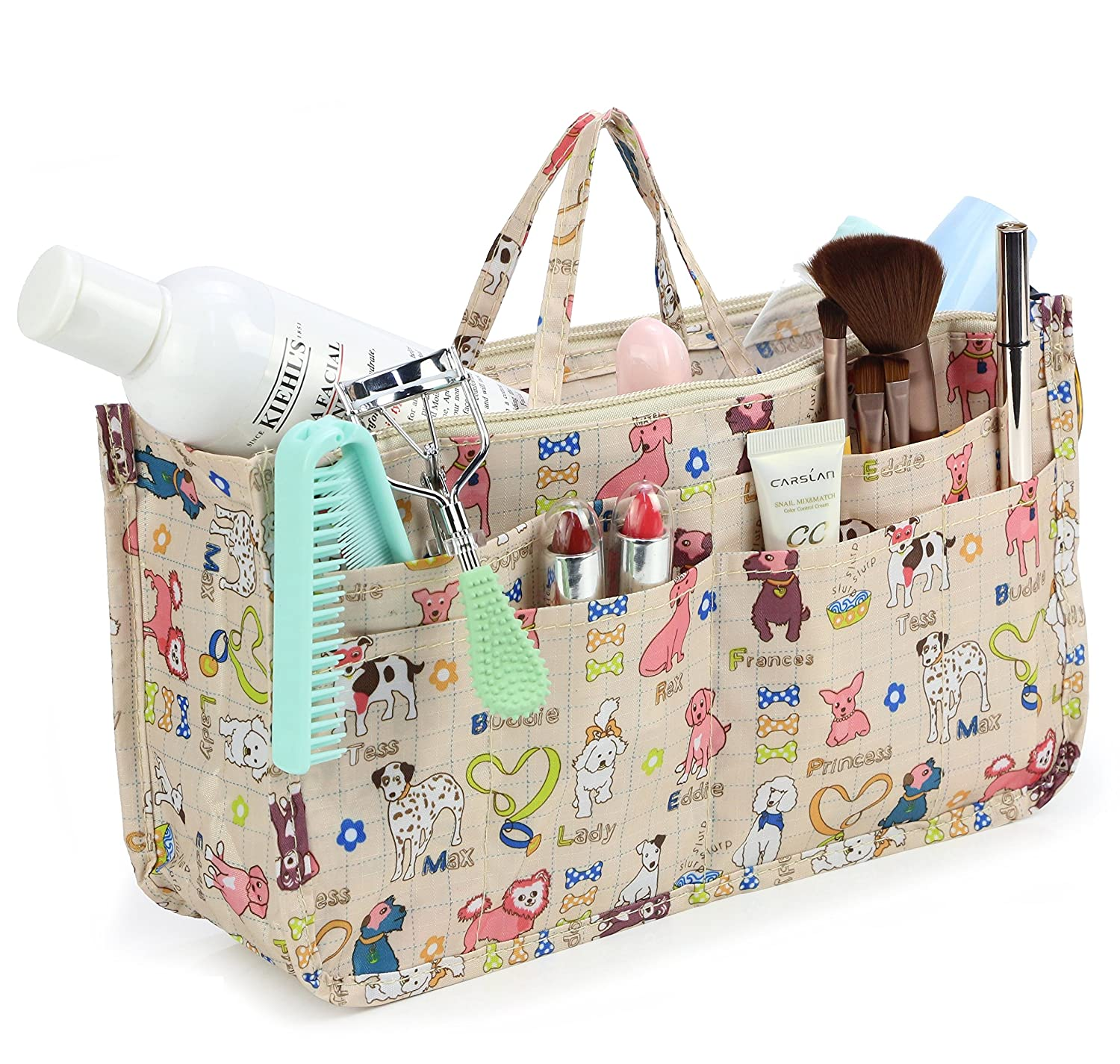 Cosmetic Bag for Women Cute Printing 14 Pockets Expandable Makeup Organizer Purse with Handles Dog