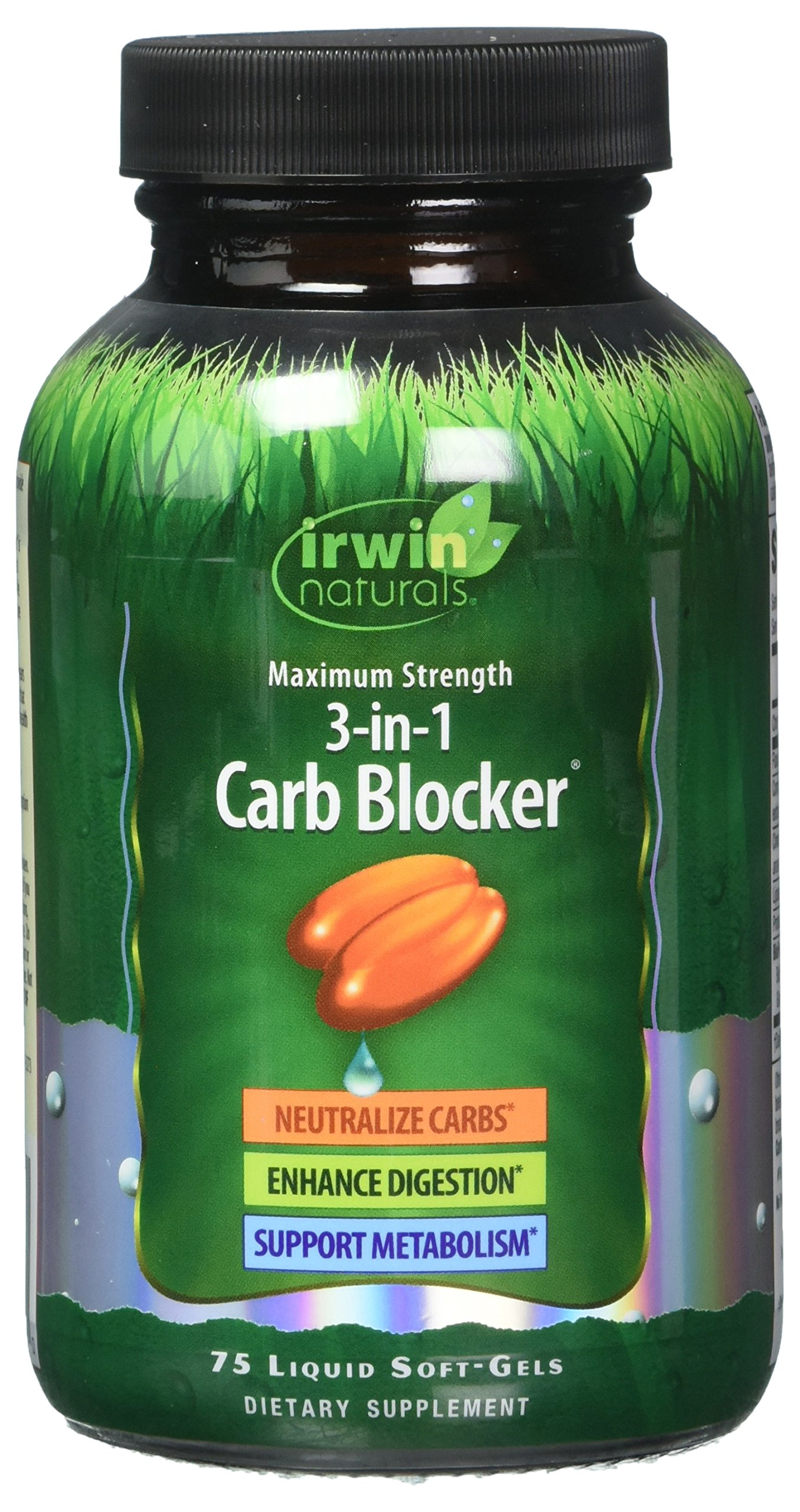 Maximum Strength 3-in-1 Carb Blocker by Irwin Naturals, Neutralize Carbohydrates and Support Metabolism, 75 Liquid Softgels, 2 Pack