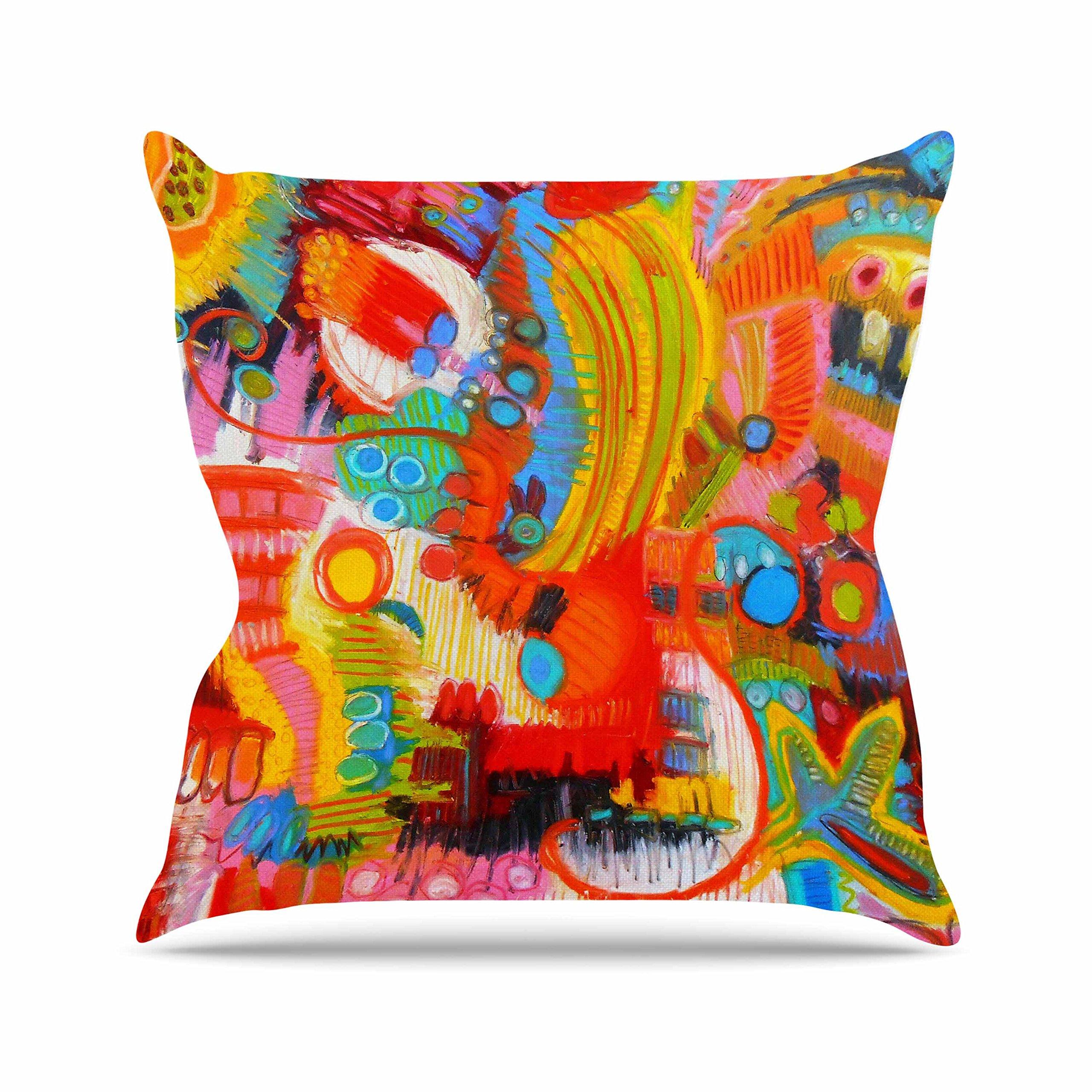 Kess InHouse Jeff Ferst Flower Power Abstract Multicolor Outdoor Throw Pillow, 18'' x 18''