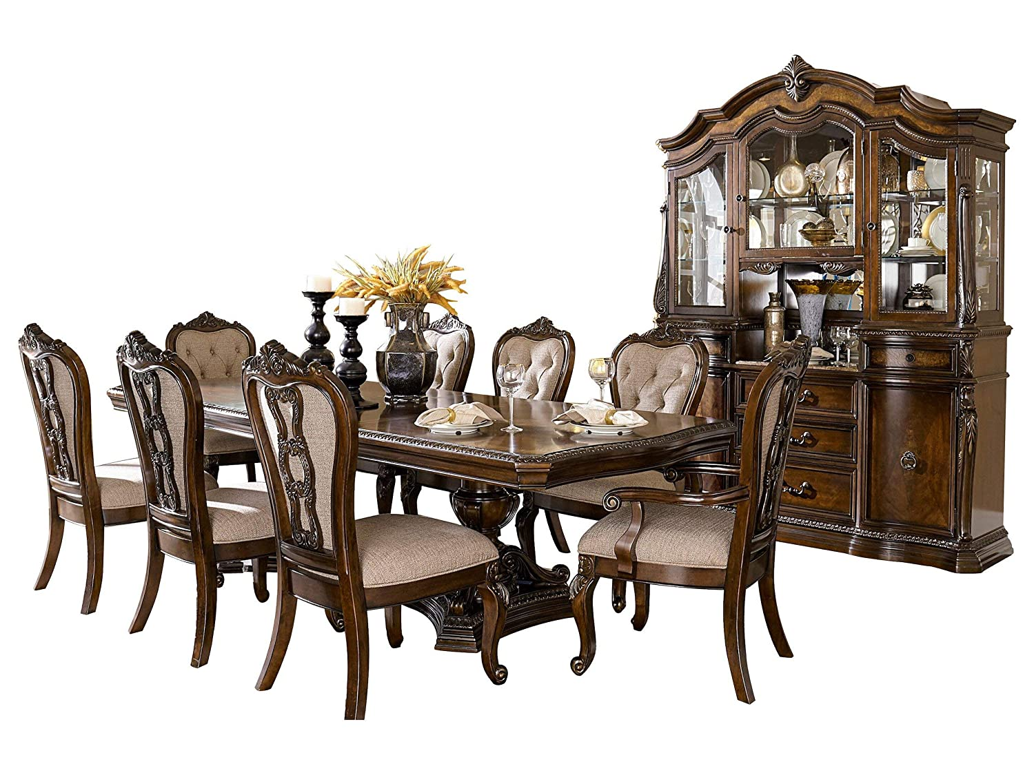 Bautistia Italian Country 10PC Dining Set Double Pedestal Table, 2 Arm, 6 Side Chair, Buffet & Hutch in Cherry