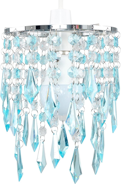 MiniSun - Elegante pantalla de lámpara de estilo candelabro, con cascada de ornamentos transparentes y azul turquesa