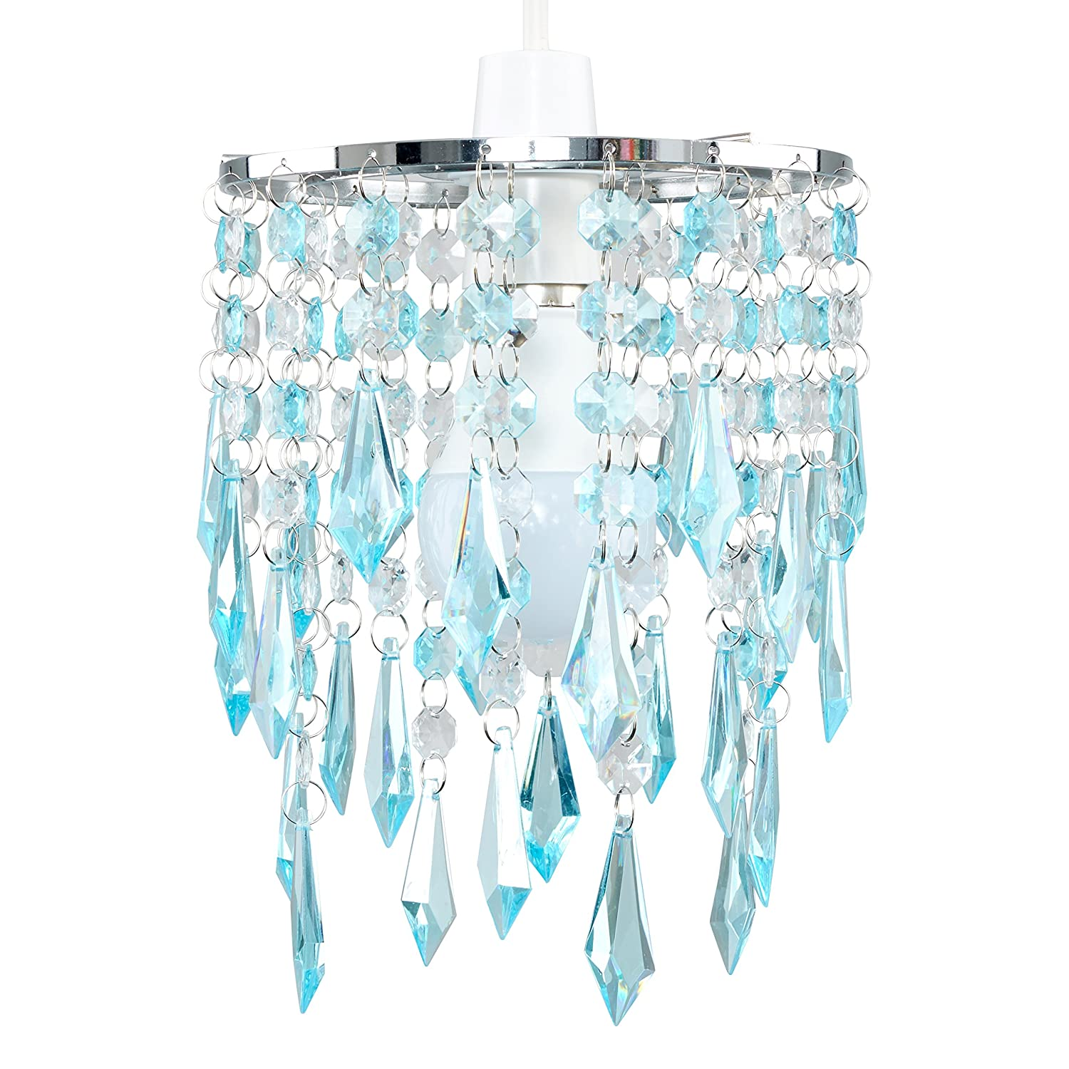 online store ef7ae 23234 MiniSun - Elegant Chandelier Design Ceiling Pendant Light Shade With  Beautiful Teal And Clear Acrylic Jewel Effect Droplets
