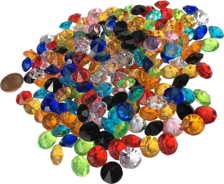 Crystal King - Lote de piedras brillantes, acrílicas, 11 mm, 200 unidades, diversos usos, multicolor, transparente