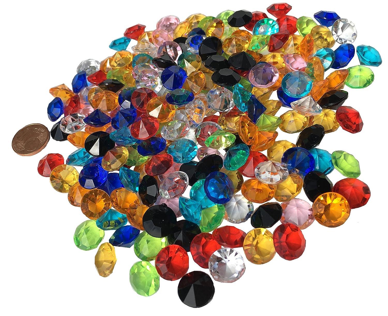 Crystal King - Lote de piedras brillantes, acrílicas, 11 mm, 200 unidades, diversos usos, multicolor, transparente acrílicas