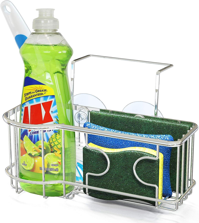 Amazon Com Simplehouseware Kitchen Sink Caddy Organizer For Brush Sponge Holder Chrome
