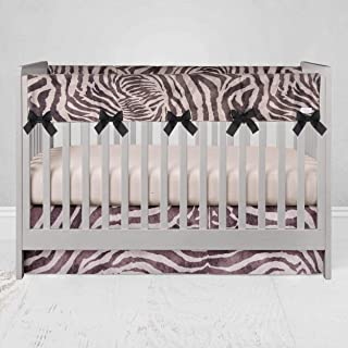 """product image for Glenna Jean Crib Skirt, Nursery Crib Bedding Skirt for Baby Boys & Girls, 16"""" Drop, Animal Print for Boys & Girls, White/Black"""