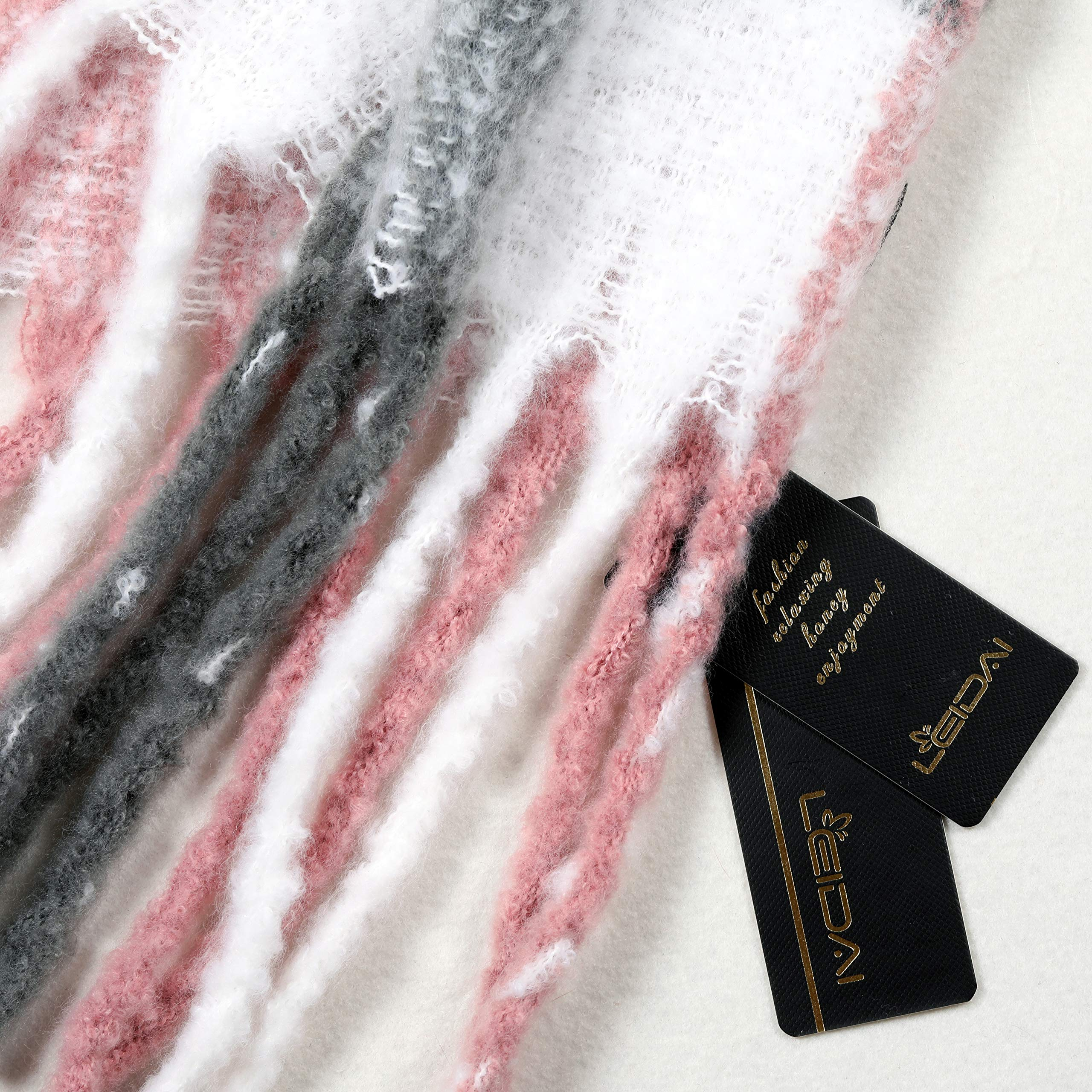 Damen Maedchen Langer Schal 250cm*70cm Deckenstoffschaln Schalcape Winter Schal mit Fransen und spitzen Enden XXL (Rosa, One size)