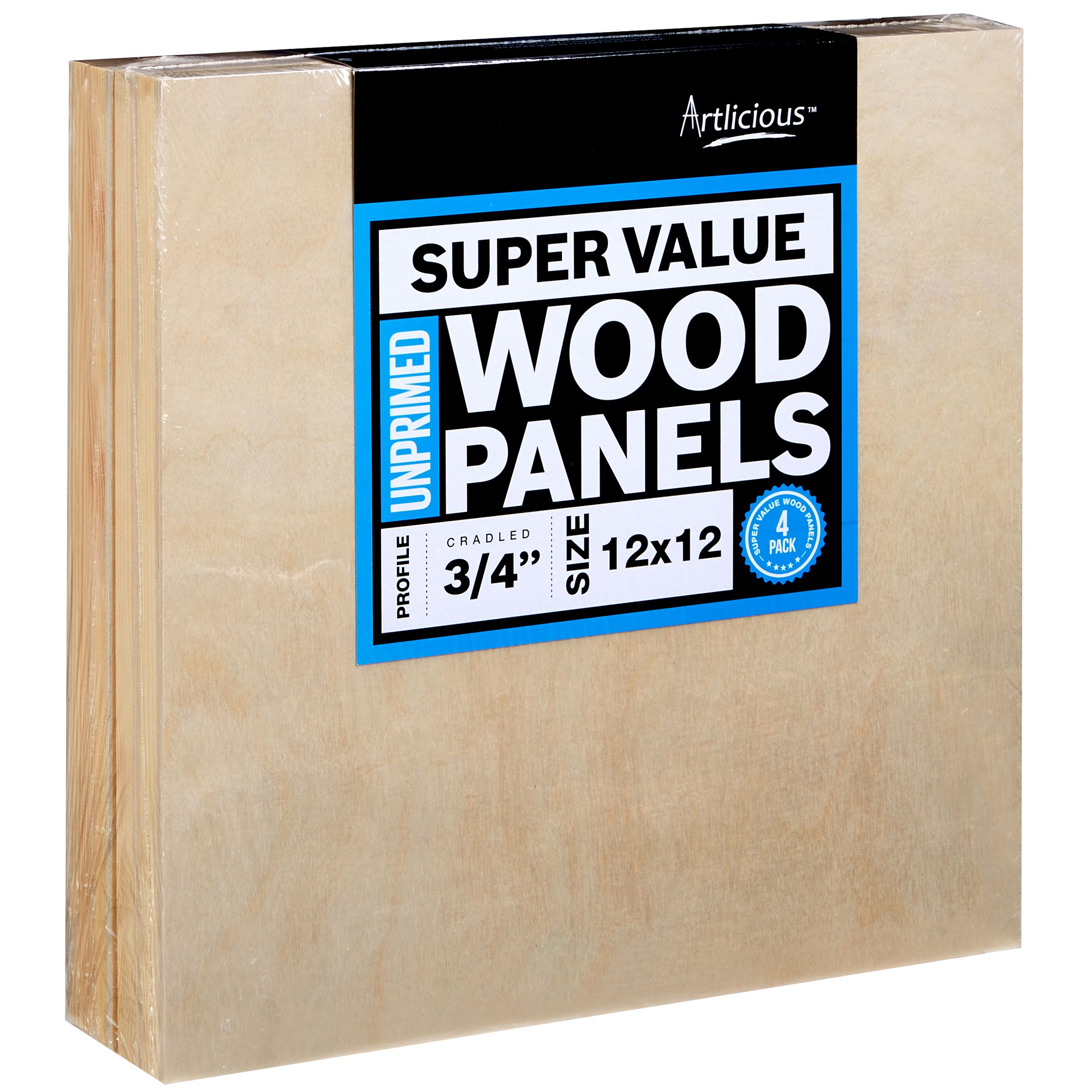 Artlicious - 4 Super Value Wood Panel Boards - Great Alternative to Canvas Panels, Stretched Canvas & Canvas Rolls (12x12, Standard Profile) by Artlicious