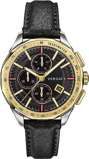 Versace VEBJ00218 - Reloj cronógrafo Suizo para Hombre con Correa de Piel y Esmalte Dorado