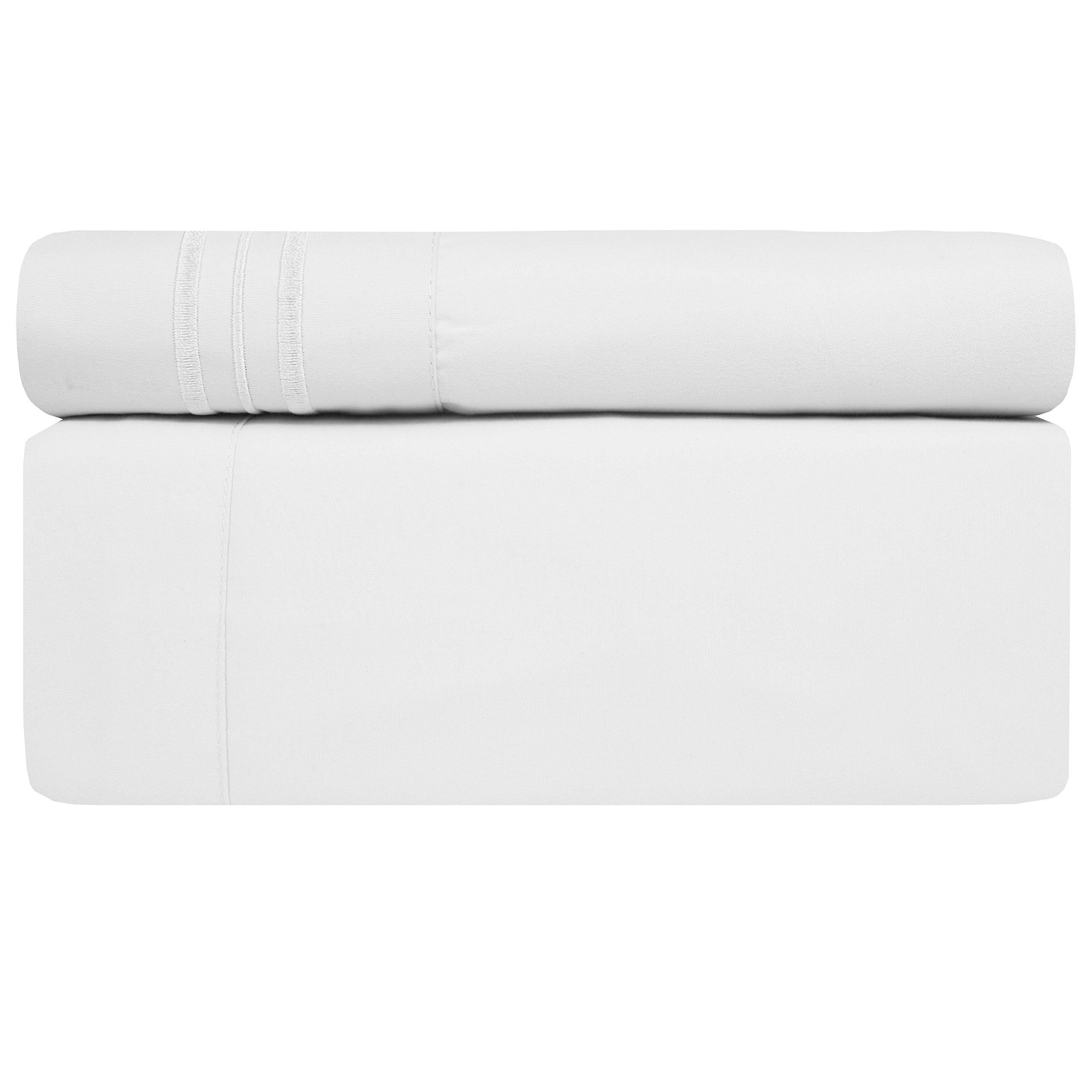 Sweet Home Collection 1800 Thread Count Egyptian Quality Brushed Microfiber 4 Piece Deep Pocket Bed Sheet Set, Queen, White by Sweet Home Collection (Image #3)
