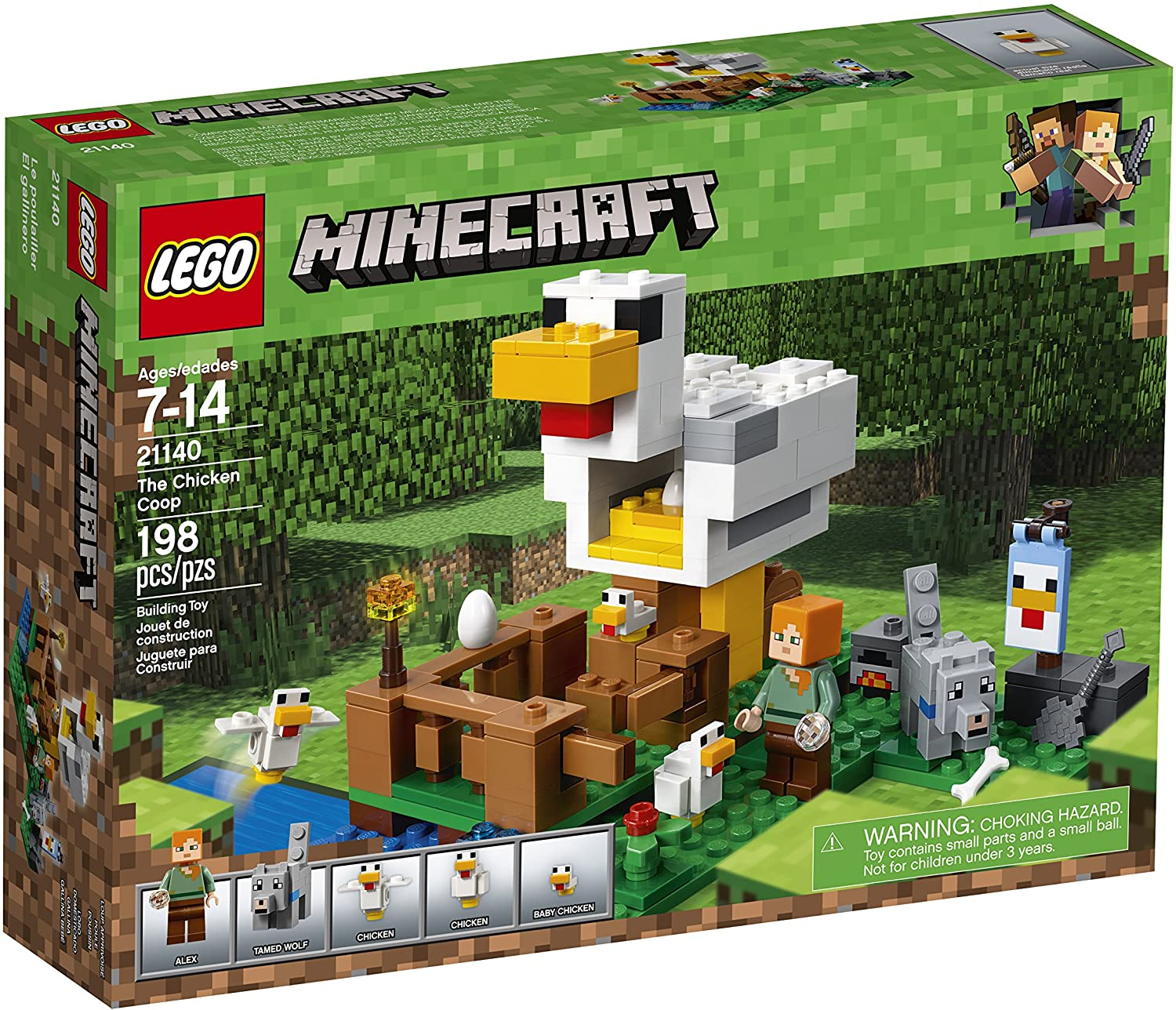 198 Piece LEGO Minecraft The Chicken Coop 21140 Building Kit