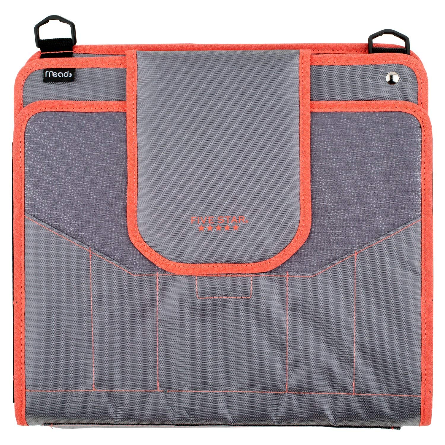 Five Star Zipper Binder, 2 Inch 3 Ring Binder, 4'' Capacity, 5-Pocket Expanding File, Durable, Color Selected For You (28044)