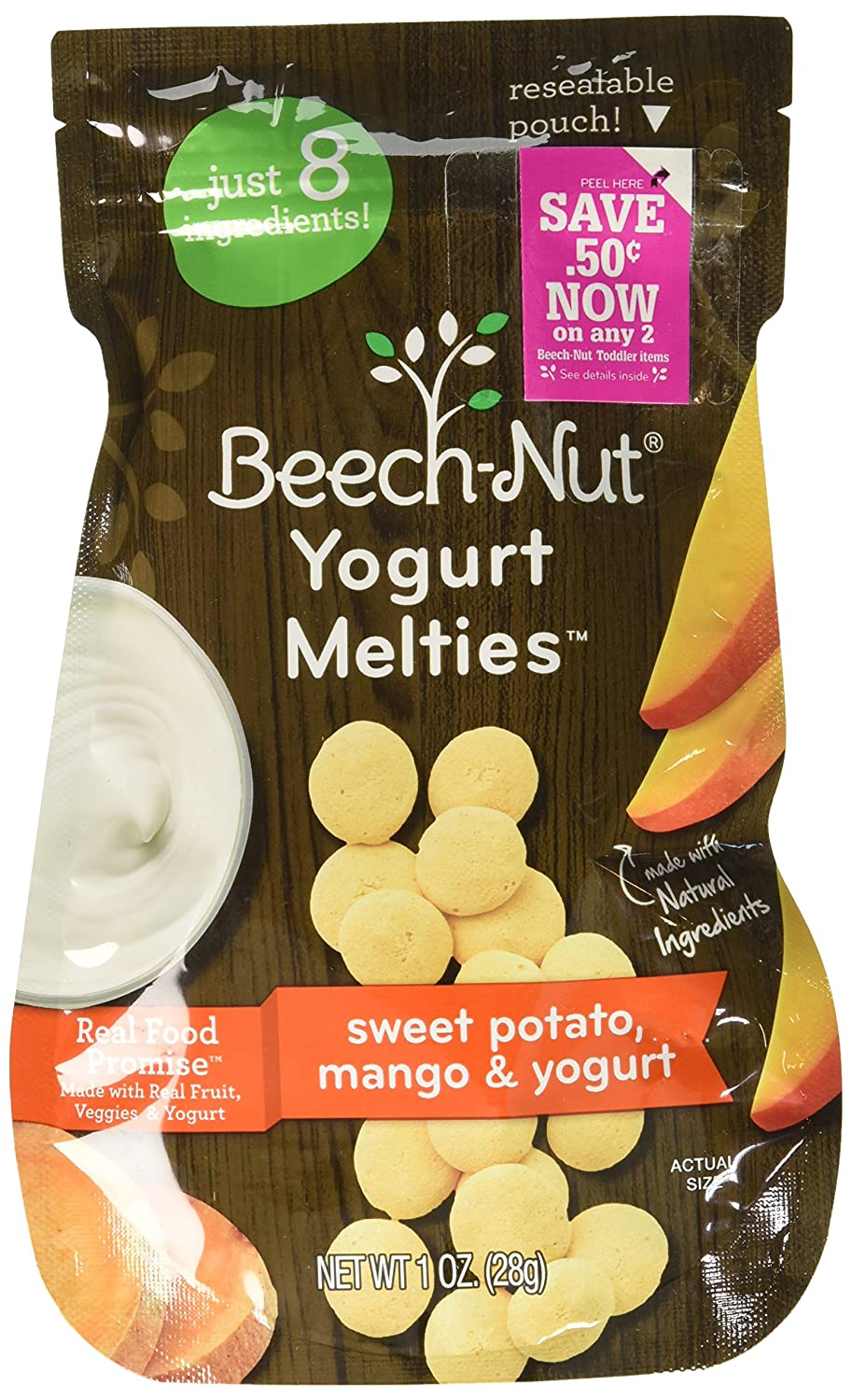 Beech-Nut Yogurt Melties Stage 3, Sweet Potato, Mango & Yogurt, 10 Simple Ingredients, Baby and Toddler Snacks, 7 Count, 1 oz Pouches…