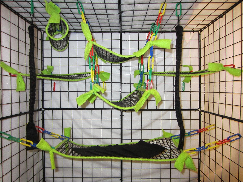 8 Piece Sugar Glider Cage SetSloth with Rainbow Sugar Glider Accessories