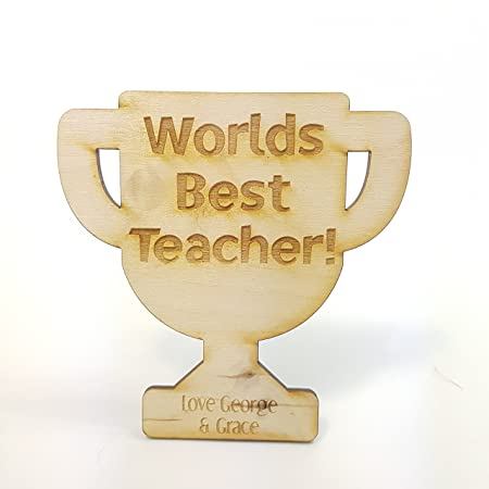 Wooden Teacher Trophy Magnet Unique Idea Thank You Gift Personalised