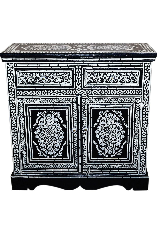 Orientalische Kommode Sideboard Dilhan 90cm Schwarz Weiß | Orient Vintage Kommodenschrank Orientalisch Handbemalt | Indische Landhaus Anrichte aus Holz | Asiatische Möbel aus Indien