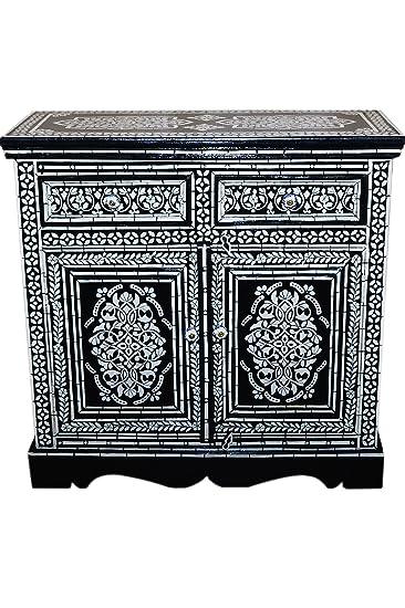 Orientalische Kommode Sideboard Dilhan 90cm Schwarz Weiß | Orient ...
