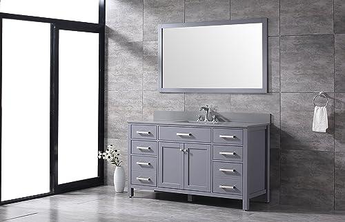 High-End All-Wood Slate Grey 60-inch Single Sink Shaker Vanity Grey Quartz Top