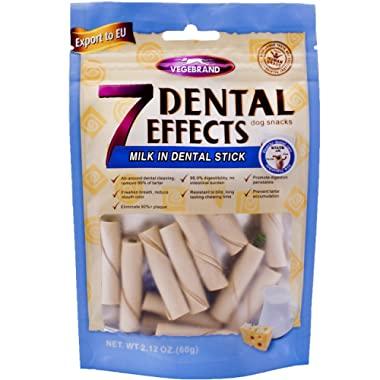 VEGEBRAND 7 Dental Effects 12 pcs.for Small Dogs Milk and Cheese Flavored Dental Chews & Treats, Bone for Dogs Teeth Care and Bad Breath Exception, Snacks is 100% Natural and Digest. Not Rawhide